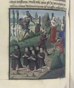 """The torture of the Jewish mothers"", Billedet Hedder, from the Speculum historiale (BNF Fr. 50, fol. 158v). 15th century."