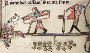 Carrying twins in the margins of the Romance of Alexander, Oxford, Bodleian Library MS Bodley 264.