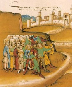 """First Arrival of Gypsies Outside the City of Berne"", Amtliche Spiezer Chronicle, 1485"