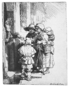 """Three Beggars at a Door"", Rembrant, 1603"